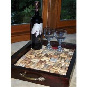 Ornate Wine Cork Serving Tray