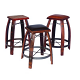 Stave Stools, Wood, Tan & Chocolate Leather Tops