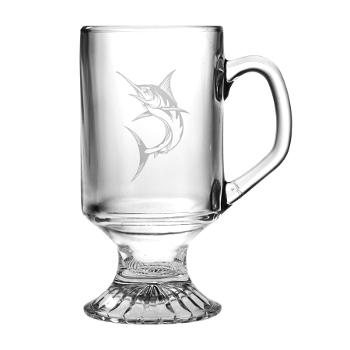 Marlin Footed Mug, 10Oz.  Etched Glass Coffee Mug Set