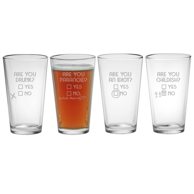 """""""Are You..."""" Assorted Etched Pint Glasses"""