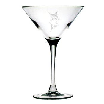 Marlin Etched Martini Glasses (set of 4)