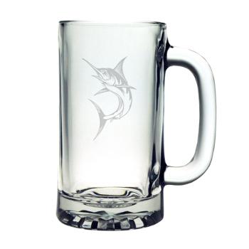 Marlin Pub Beer Mugs, 16Oz, Etched Glass Beer Mug Set