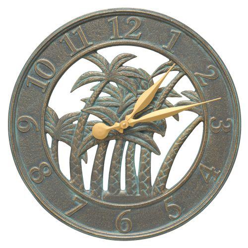 """18"""" Palm Wall Clock Indoor Outdoor, Bronze Verdigris"""