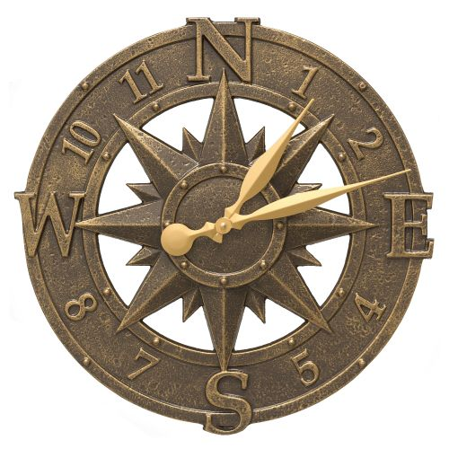 "16"" Compass Rose Clock Indoor Outdoor, French Bronze"