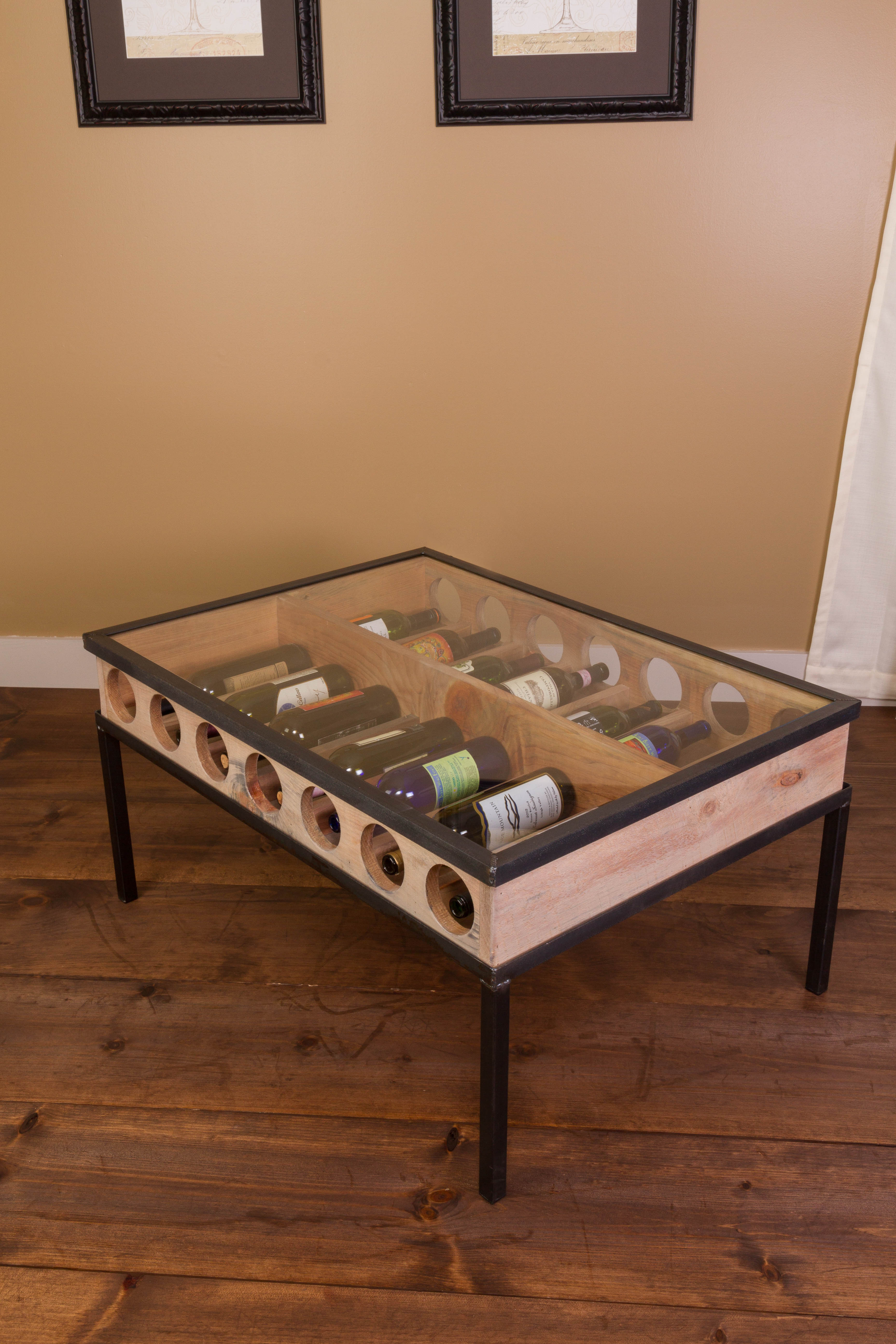 French Glass Top Coffee Table Wine Rack