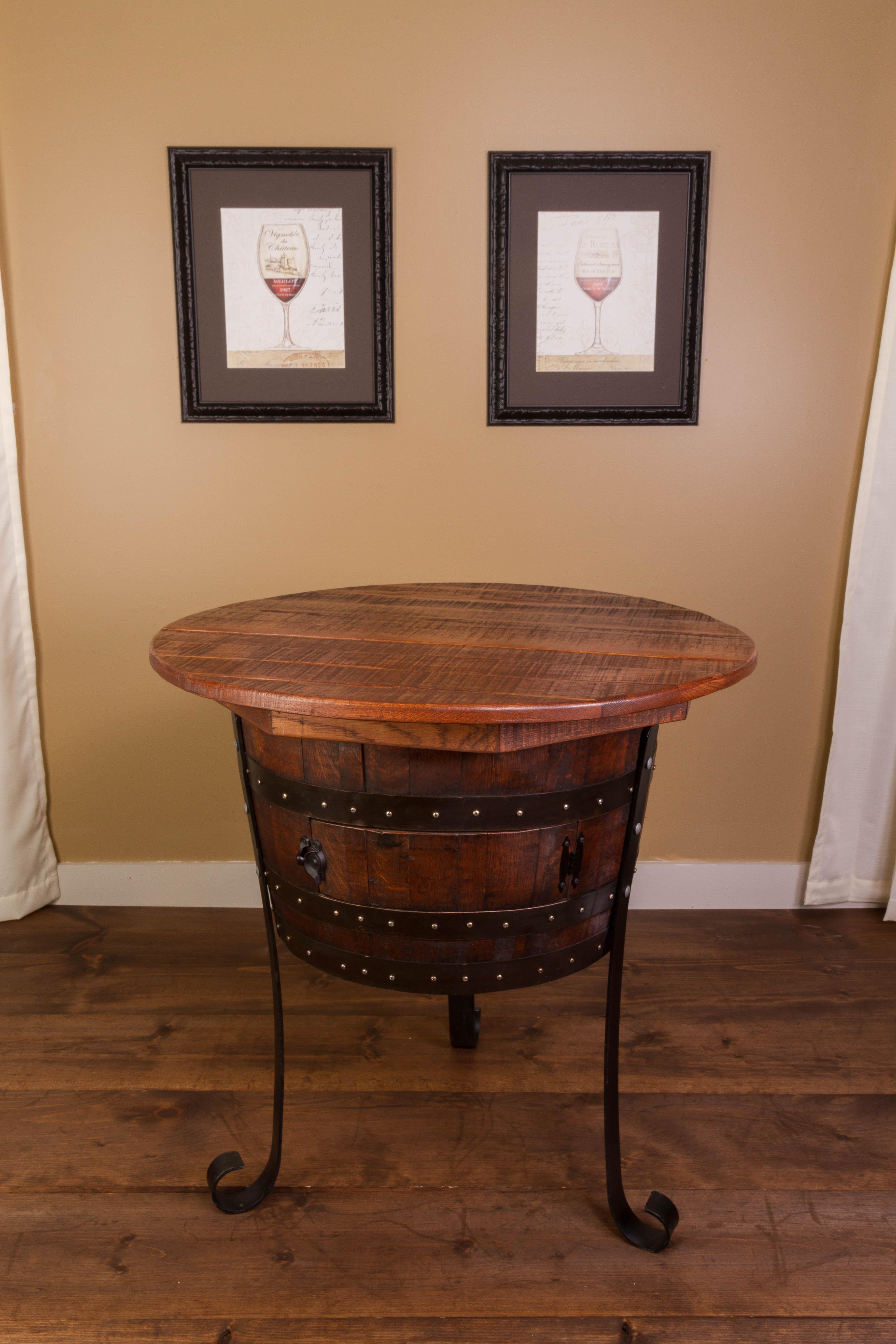 Vintage Oak Half Barrel Table with Cabinet