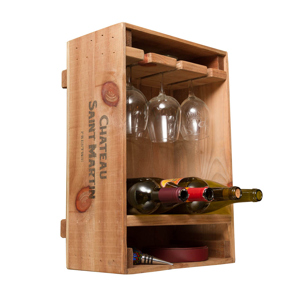 Wine Crate Combo Glass & Bottle Rack
