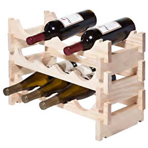 12 Bottle Stackable Wooden Wine Rack - Natural