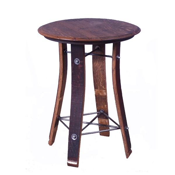 Barrel Top Side Table, 28 Inches