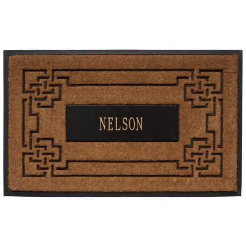 Personalized Sailor'S Knot Personalized Coir Mat, Black/Gold