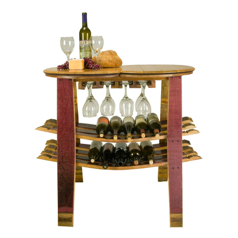 Reclaimed Wine Barrel Table with Wine and Glass Racks