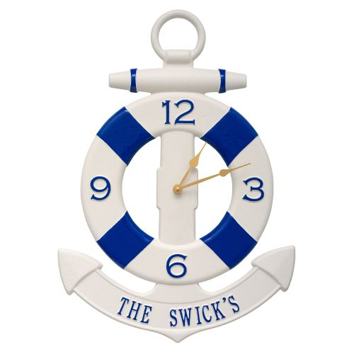 Personalized Anchor Clock, Navy / Blue