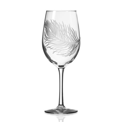 Peacock White Wine Glasses 12 oz Set of 4