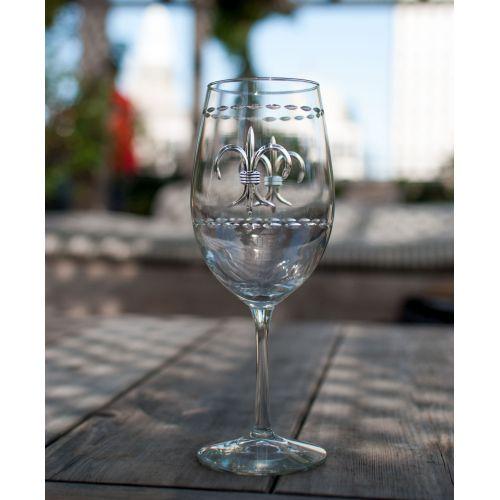 Fleur De Lis AP Wine Glasses 18 oz Set of 4
