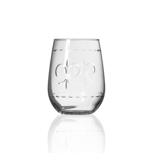 Fleur De Lis Stemless Glasses 17 oz Set of 4