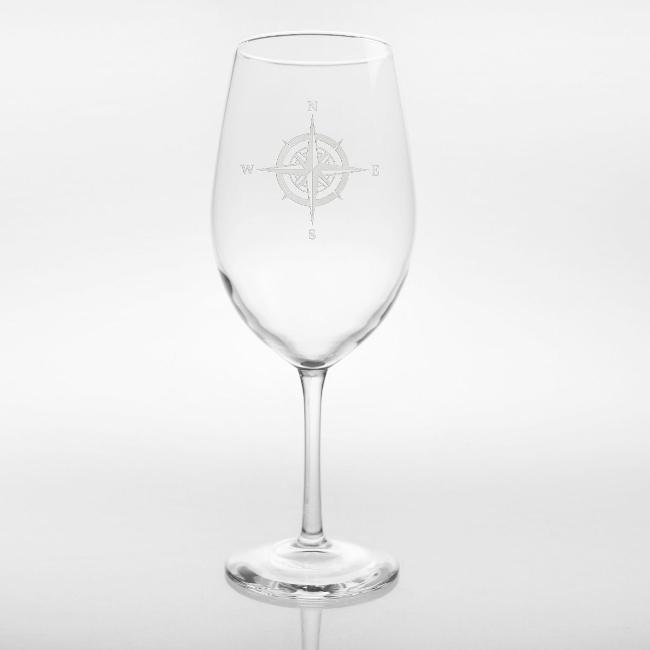 Compass Rose Large Wine Glass 18oz Set of 4