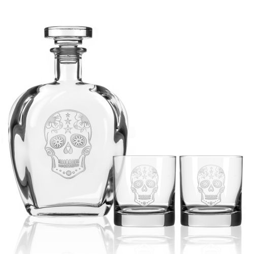 Sugar Skull Decanter OTR set of 3 in Gift Box