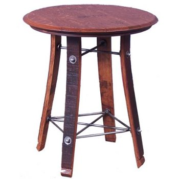 Barrel Top Side Table, 24 Inches
