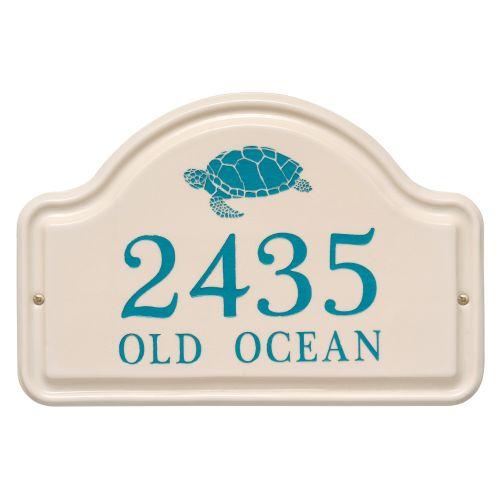 Personalized Turtle Ceramic Arch Plaque, Bristol Plaque With Sea Blue Etching