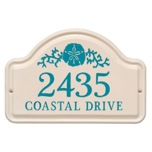 Personalized Sand Dollar Arch Plaque, Bristol Plaque With Sea Blue Etching