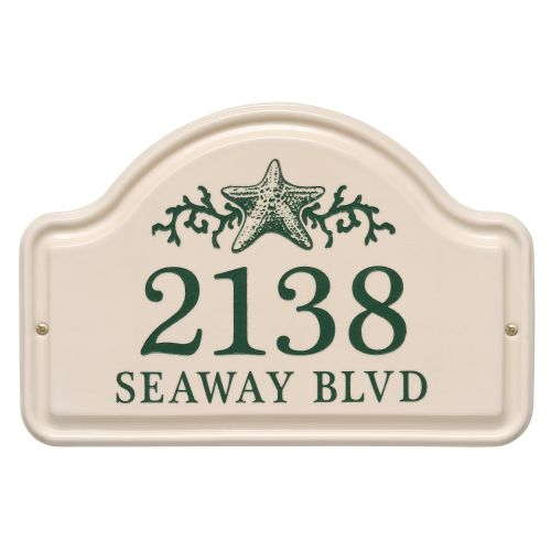 Personalized Star Fish Ceramic Arch Plaque, Bristol Plaque With Green Etching