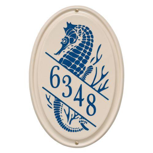 Personalized Sea Horse Ceramic Vertical Plaque, Bristol Plaque With Dark Blue Etching
