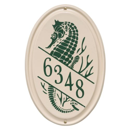 Personalized Sea Horse Ceramic Vertical Plaque, Bristol Plaque With Green Etching