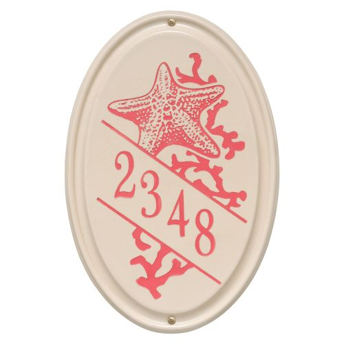 Personalized Star Fish Ceramic Oval Plaque, Bristol Plaque With Coral Etching