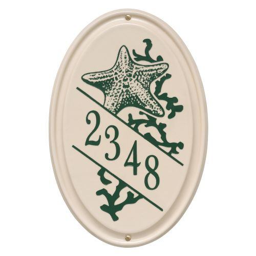 Personalized Star Fish Ceramic Oval Plaque, Bristol Plaque With Green Etching