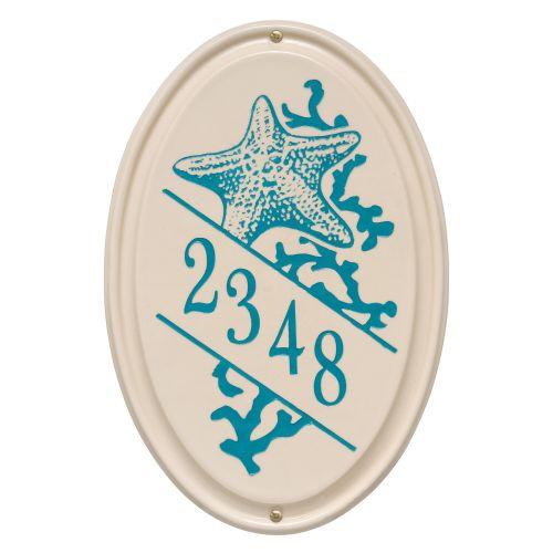 Personalized Star Fish Ceramic Oval Plaque, Bristol Plaque With Sea Blue Etching