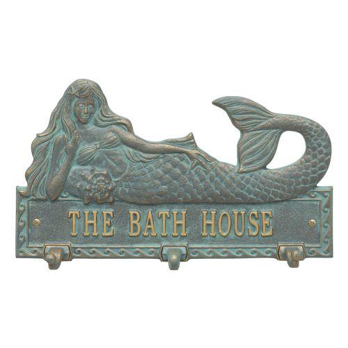Personalized Mermaid Hook Plaque, Bronze Verdigris