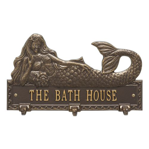 Personalized Mermaid Hook Plaque, Bronze / Gold