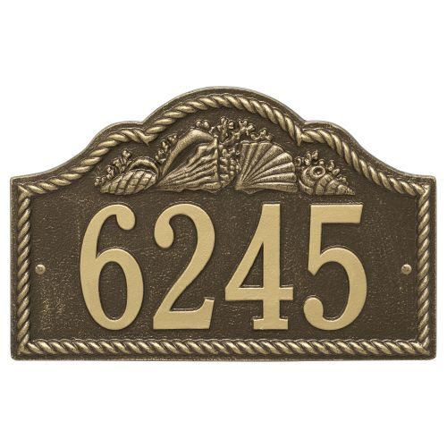 Personalized Rope Shell Arch Plaque Wall, Antique Brass