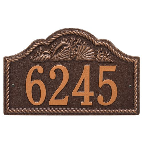 Personalized Rope Shell Arch Plaque Wall, Antique Copper