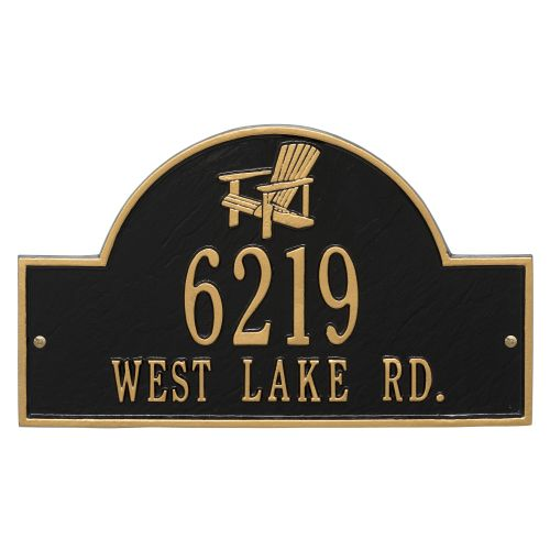 Personalized Adirondack Arch Plaque, Black / Gold