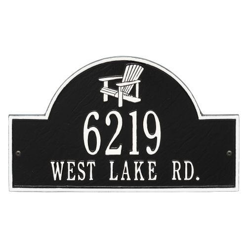 Personalized Adirondack Arch Plaque, Black / White