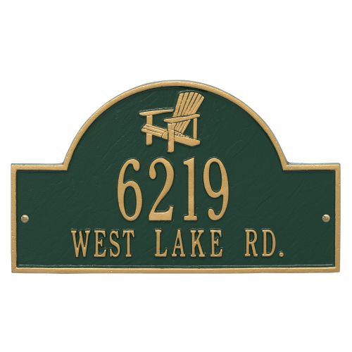 Personalized Adirondack Arch Plaque, Green / Gold