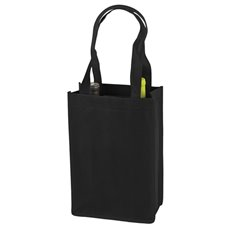 2 Bottle Non Woven Tote In Black