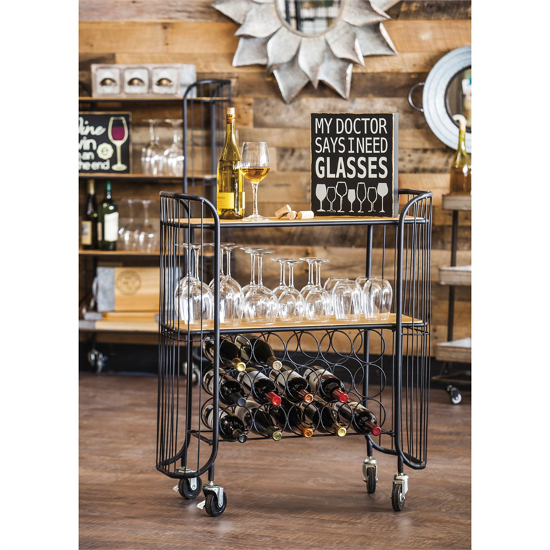 2 Tier Wood and Black finish Iron Wine Bar Cart with Locking Wheels