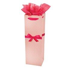 Elegant Pink Polka Dot Wine Bag by Cakewalk