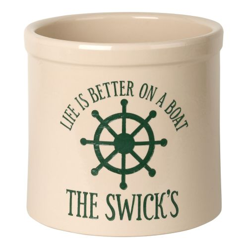 Personalized Life Is Better On A Boat Crock, Bristol Crock With Green Etching