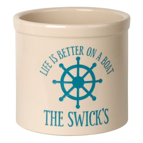 Personalized Life Is Better On A Boat Crock, Bristol Crock With Sea Blue Etching