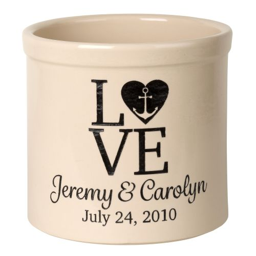 Personalized Love Anchor Crock, Bristol Crock With Black Etching