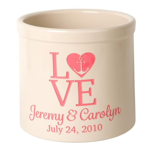Personalized Love Anchor Crock, Bristol Crock With Coral Etching