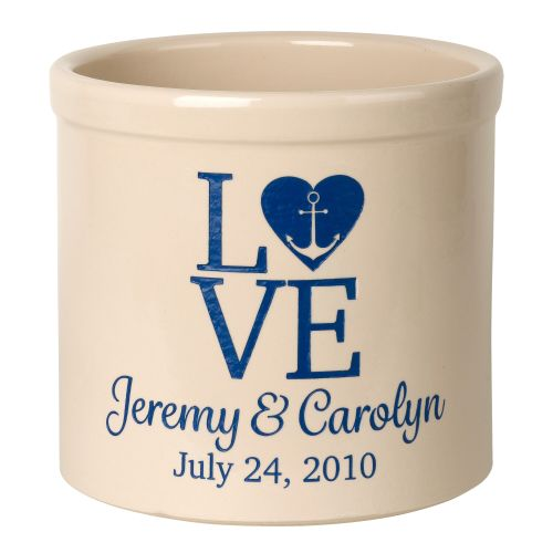 Personalized Love Anchor Crock, Bristol Crock With Dark Blue Etching