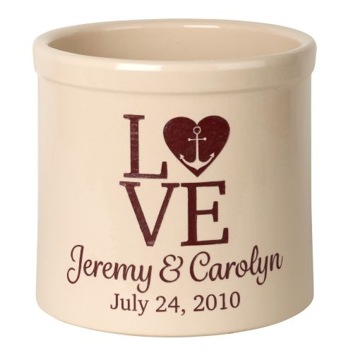 Personalized Love Anchor Crock, Bristol Crock With Red Etching