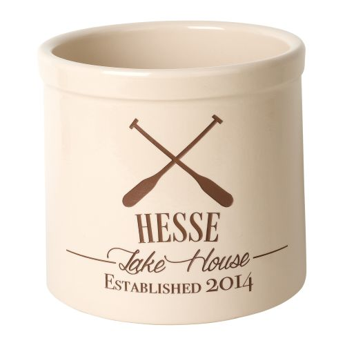 Personalized Oar Lake House Crock, Bristol Crock With Brown Etching