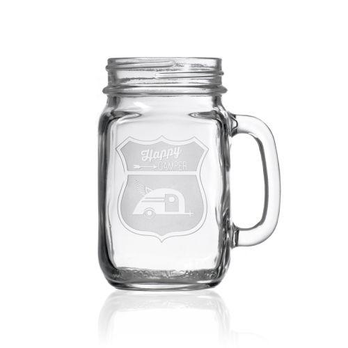 Happy Camper Tear Drop Camper Jar 16 oz Set of 4