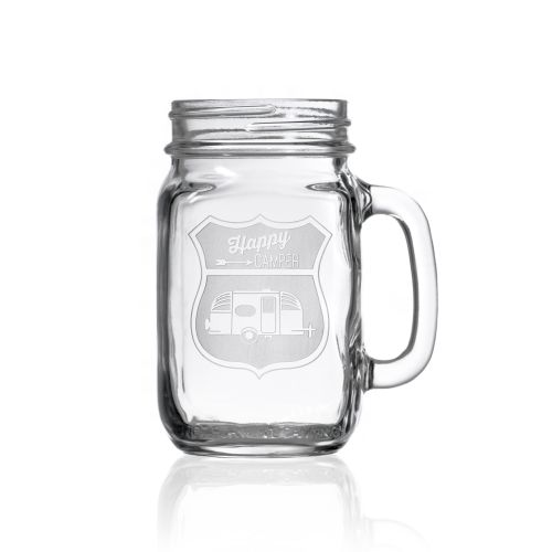Happy Camper Retro Camper Jar 16 oz Set of 4