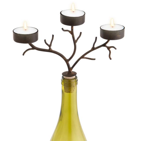 3-Tealight Branches Wine Bottle Candelabra